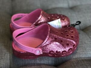 Crocs baya glitter clog k 205911-669 Pink Girl's Us J1 Eur 32-33 Nwt
