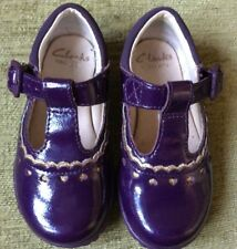 CLARKS .. PATENT PURPLE FIRST BUCKLE SHOES .. FLASHING LIGHTS .. SIZE 5F LOVELY