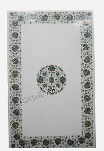 30 x 48 Inches Marble Dinette Table Top with Shiny Gemstones Art Kitchen Table