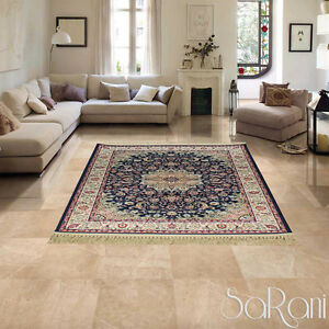Carpet Classic Eastern Persian Effect Silk Fringe Gold Furnishing SARANI