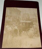 Rare Antique Victorian American Stagecoach Crowd! Coastal Homes Cabinet Photo!