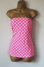 New Hot Pink & White Spotted Holiday Beach Bandeau Boob Tube Top 12 14 1950s