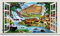 Noah's Ark Panda Giraffe 3D Window View Removable Sticker Wall Decals Kids Decor