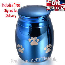 Blue Mini Cremation Ashes Urn - Funeral Memorial Keepsake - with Gift Box