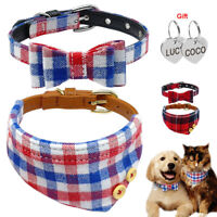 Personalized Bow Small Dog Collar & Bandana & Tags Engraved for Puppy Pet Cat