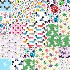 50 X 4 INCH PATCHWORK FABRIC SQUARES BUNDLE REMNANTS CHILDRENS NOVELTY ANIMALS