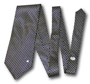 "DUNHILL 100% Silk Tie Navy Blue & Gold Zig Zag Cubes Geometric 56.5 x 4"""