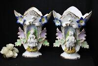 PAIR antique french XIX Century Vieux paris porcelain cornet vases figurines