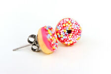 Donut studs - Pink donut studs - Doughnut Earrings- Kawaii Kitsch - Rockabilly