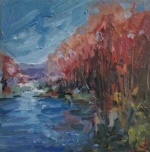AUTUMN RIVER TREES LANDSCAPE OIL PAINTING BY ARTIST VIVEK MANDALIA 8 X 8
