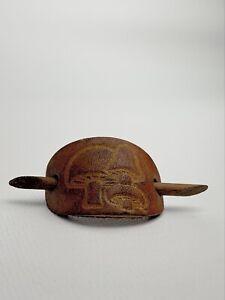 Vtg 1970's Leather Ponytail Holder Brown Mushrooms w wooden Stick - Hair tie
