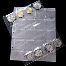 New 1 Sheets 20 Pockets Transpare Clear Plastic Coin Holder Collection Money JS