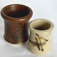 2 Miniature Vases Jar Pot Crocks Brown Hand Thrown Stoneware Pottery Mid Century