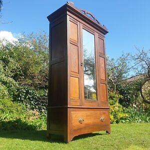 Antique Edwardian Mahogany Wardrobe Mirrored Armoire