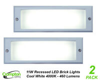 2 x 11W LED Brick Lights Silver Recessed Wall Light Plain Face 225 x 125mm IP66
