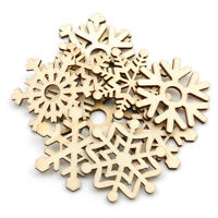 Christmas 10Pcs Assorted Wooden Snowflake Xmas Tree Hanging Ornament Decor Set