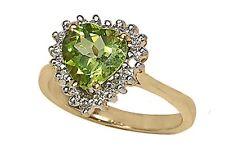 14k Gold 8mm Peridot Heart Women's Ring  with Diamonds (R667)