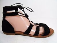 Gianni Bini 9.5 M Black Leather Sandals Gladiator Laces Flats Strappy