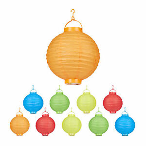 LED Lampions bunt 10 Stück, Lampion Set, Papierlampions rund, Papierlaterne 20cm