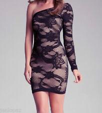 NWT bebe black nude floral lace slash one shoulder long sleeve top dress M L