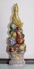 Vintage GRAN ROSA Italian Rose' Porcelain Fruit Basket Wine Bottle Decanter