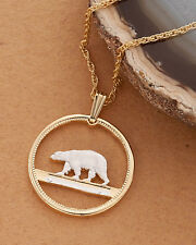 "Polar Bear Pendant Green Polar Bear Coin Hand cut - 3/4"" diameter ( # 150 )"