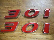 FORD GM MOPAR 301 FENDER HOODSCOOP QUARTER EMBLEMS - RED PAIR