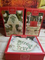 Lenox Holiday Decor Choice of Tree Candy Dish, Candle Lamp or Pillar Candle NIB