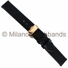 16mm Glam Rock Black Saffiano Leather Rose Gold Butterfly Clasp WatchBand EZ PIN