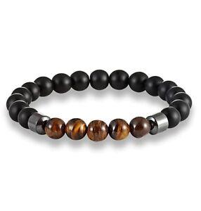 Men's Gemstone Strand Bracelet Matte Black Beads Hematite Tigers Eye UK