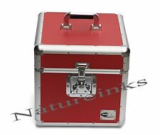 "1 ZILLA RED 12"" 100 Aluminium LP Vinyl Record Box Storage Flight DJ Case"