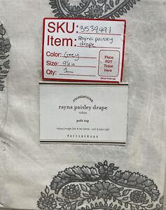 (1) Pottery Barn Rayna Drape Gray 50x96 Paisley Curtain Panel - New
