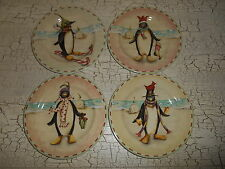 "4 SAKURA Chilin' 8.25"" Salad Plates Christmas Penguin Taylor Kerman"