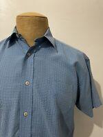 TED BAKER London Men's Short Sleeve Button Front Shirt Blue Plaid Size 3