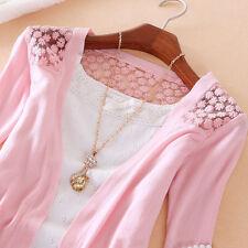 Womens Ladies Knitting cardigan Lace Crochet Knitwear outwear Tops Sweater Coat