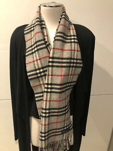 Vintage BURBERRY OF LONDON Genuine Grey Lambswool Check Long Scarf 33cm x 146cm
