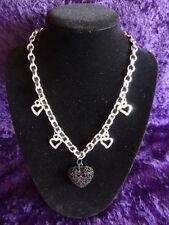 Black Ribbon & Chain Necklace with Black & Silvertone Heart Pendants