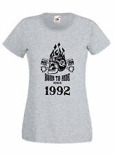 T-shirt Maglietta donna J2262 Fast Motor and Skull Born To Ride Since 1992