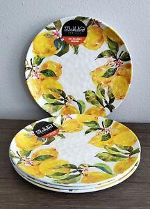 IL MULINO Lemon Floral White Yellow Green Dinner Melamine Plates set of 4