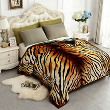 """Animal Print Blanket Wolf Tigter Lion Thick Soft Winter Mink Queen 77"""" x 87"""" 5lb"""