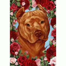 Roses House Flag - Orange American Pit Bull Terrier 19406
