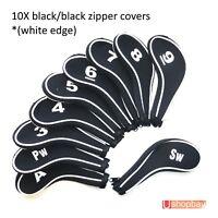 Golf Club Iron Head Covers Zipper Protect Match Black/Black Golf  Bag x 10