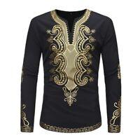 African tribal shirt men dashiki print succinct hippie top blouse casual shirts