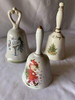 "Vintage Ceramic And Porcelain 3 Bell Christmas Set 5"" 6"" & 7"" Tall"