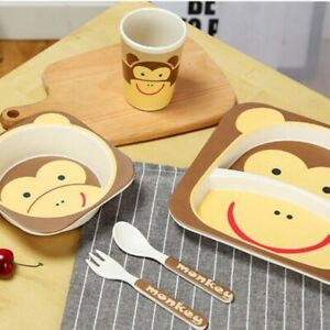 Children's Monkey Bamboo Dinner Set - Eco Friendly. UK Based. Baby Plate Set.