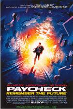 PAYCHECK MOVIE POSTER Original DS 27x40 BEN AFFLECK JOHN WOO 2003 Film