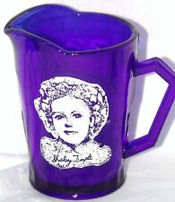 Shirley Temple Vintage Cobalt Blue Depression Glass Creamer Pitcher Hazel Atlas