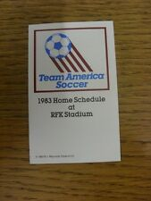 1983 Fixture Card: Soccer - Team America (single fold style). Any faults with th