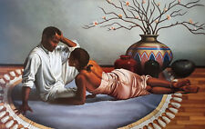 "African American Art – ""In Your Eyes"" Black Romantic Print by Jay Bakari"