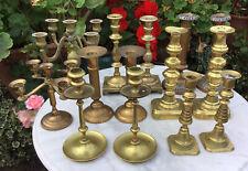 JOB LOT 12 VICTORIAN / GEORGIAN Brass / Copper Candlesticks + 2 CANDELABRA 5 ARM